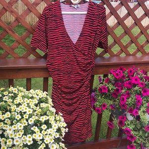 JLo red and black tiger stripe side wrap dress M